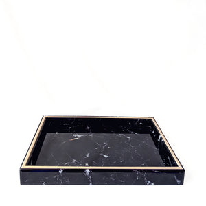 Black Glass Marble Tray