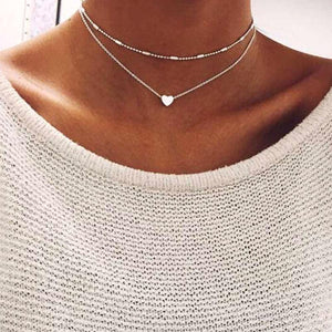 Silver/Gold Color Love Heart Necklaces (Double Chain)