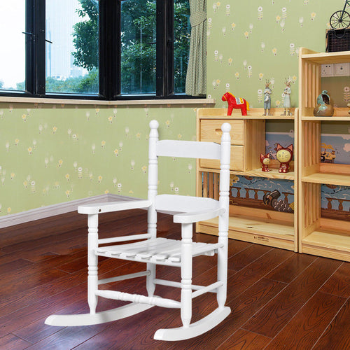 Classic White Wooden Children Kids Rocking Chair