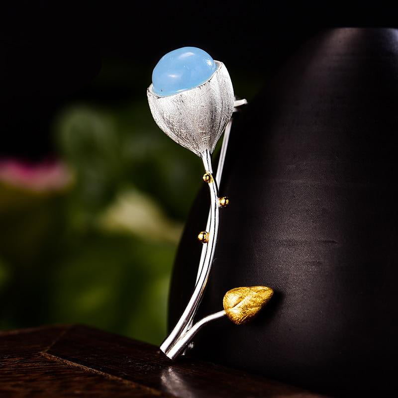 Blue Iris Flower Brooch Pin