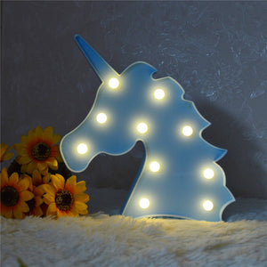 Unicorn Head Led Night Light Animal Marquee Lamps