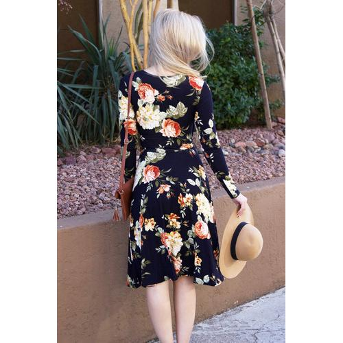 Floral Wrap Dress - Navy - S