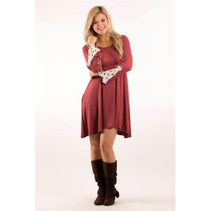 Crochet Sleeve Pocket Tunic - Marsala - M