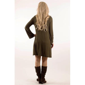 Crochet Sleeve Pocket Tunic - Olive - L