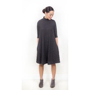 Ribbed Mock Neck Tunic - Black - M