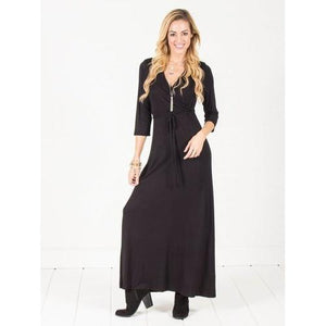 Wrap Maxi Dress - Royal Blue - Black - S