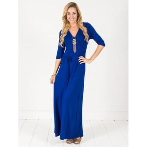 Wrap Maxi Dress - Royal Blue - Royal Blue - M