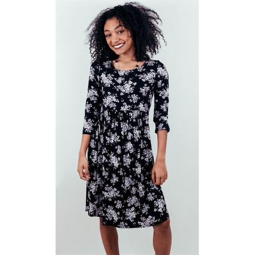 3/4 Sleeve Floral Dress - Black - L
