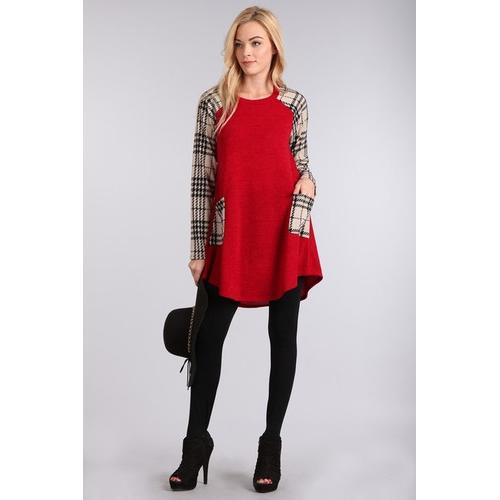 Plaid Pocket Sweater Tunic - Red/Ivory - S