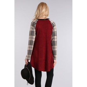 Plaid Pocket Sweater Tunic - Wine/Ivory - L