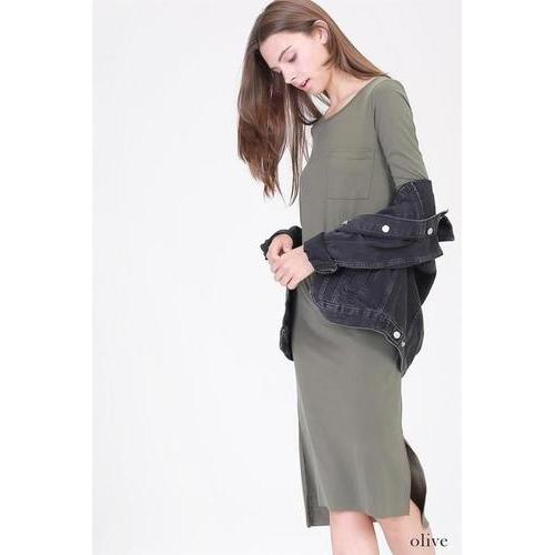 Pocket Slit Midi Dress - Olive - L
