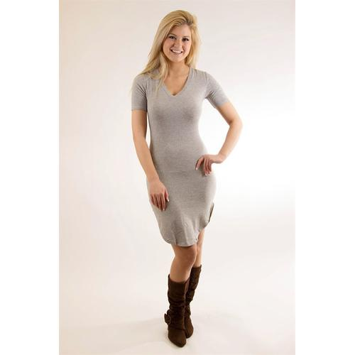 V Neck Tunic - Grey - S