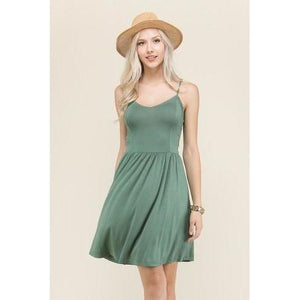 Structured Cami Dress - Sage - L