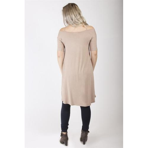 Strappy Neck Dress - Taupe - L