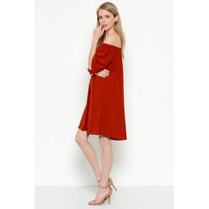 Flowy Off-Shoulder Dress - Brick - L