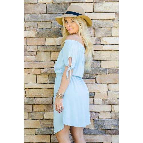 Summer Knee Length Dress - Blue - L
