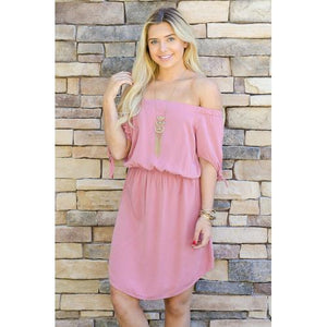 Summer Knee Length Dress - Rose - L