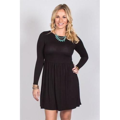 Waist Detail Swing Dress - Black - M