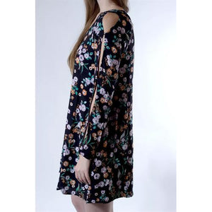 Open Sleeve Floral Pocket Tunic - Black - M