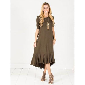Ruffle Hem Midi Dress - Olive - Olive - S