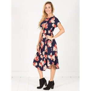 Floral Cinch Waist Midi Dress - Navy - Navy - L