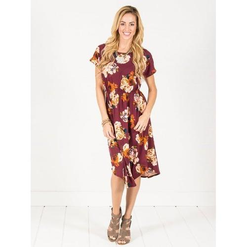 Floral Cinch Waist Midi Dress - Navy - Wine - L