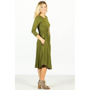 Pocket Midi Dress - Purple - Olive - L