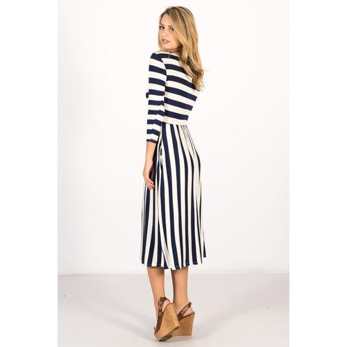 Striped Pocket Midi Dress - Navy - S