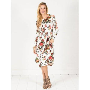 Long Sleeve Floral Midi Dress - Navy - Ivory - S