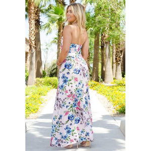 Floral Strapless Pocket Maxi - Blush - S