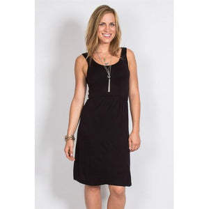 Cinch Waist Tank Dress - Black - S