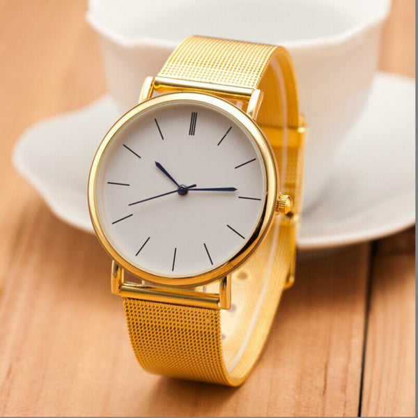 Metal Mesh Quartz Wrist Watch with Buckle Style Clasp