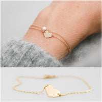 2 pc Set Dainty Chain Heart & Pearl Charm Bracelets