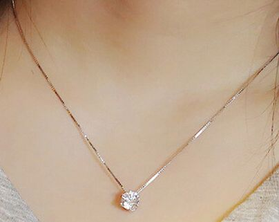 Sterling Silver Simulated Crystal Necklace