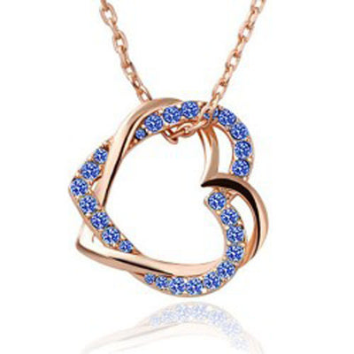 Austrian Crystal Double Heart Pendant Necklace - Gold Tone Blue