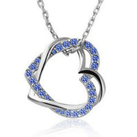 Austrian Crystal Double Heart Pendant Necklace - Sterling Silver Blue