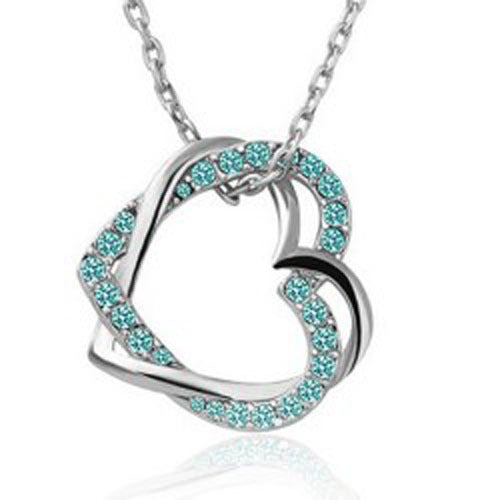Austrian Crystal Double Heart Pendant Necklace - Sterling Silver Green