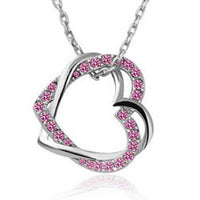 Austrian Crystal Double Heart Pendant Necklace - Sterling Silver Rose