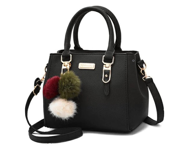 Faux Leather Satchel with Removal Crossbody Strap