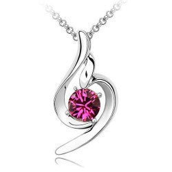 Sterling Silver Plated Austrian Crystal Pendant Necklace - Purple
