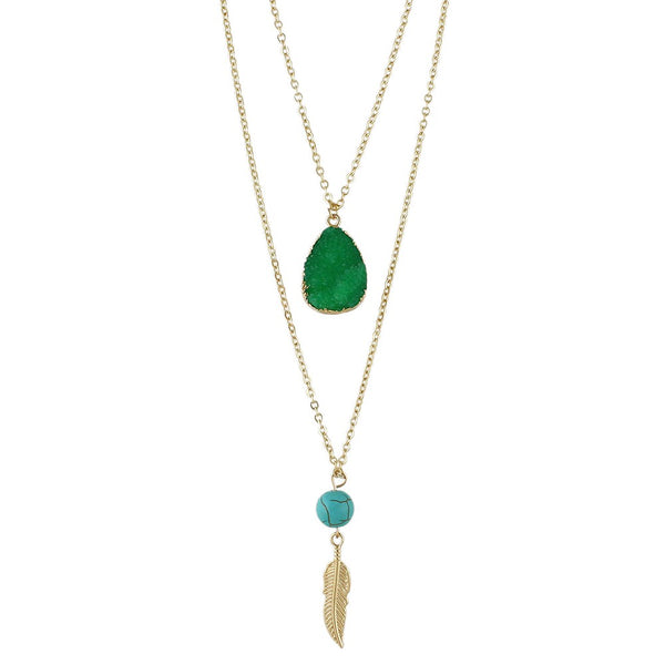 Gold Plated Natural Stone Layered Pendant Boho Style Chain Necklace - Green