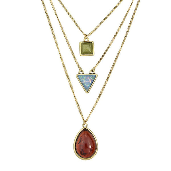 Gold Tone Multi-Layer Geometric Pendant - 3-pc Set