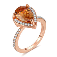 Rose-Gold Color Cubic Zirconia Pear Shape Ring