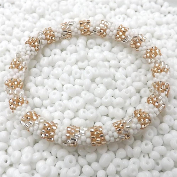Hand Crocheted Trendy Gold, Silver & White Glass Beads Bracelet Style #02