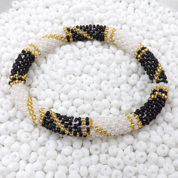 Hand Crocheted Trendy Black, Gold & White Glass Beads Bracelet Style #226
