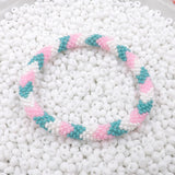 Hand Crocheted Trendy Pink, Green & White Glass Beads Bracelet Style #279