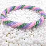 Hand Crocheted Trendy Spring Colors Glass Beads Bracelet Style #325