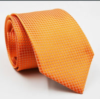 Men's Classic Check Style Jacquard Woven Silk Tie - Orange