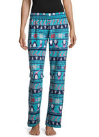 Fleece Pattern Pajama Pants - Penguins
