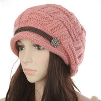 Women's Knitted Beanie Hat - Pink